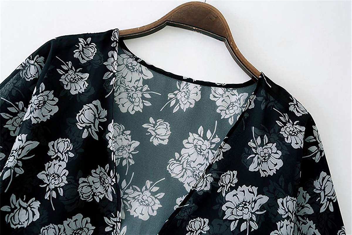 SIMYJOY Donna Chiffon Cardigan Maniche Corte con Stampa Bluse e Camicie Motivo Floreale Camicetta Spiaggia Estivo Casual Copricostume Stile Boho Kimono Beachwear Leopardo