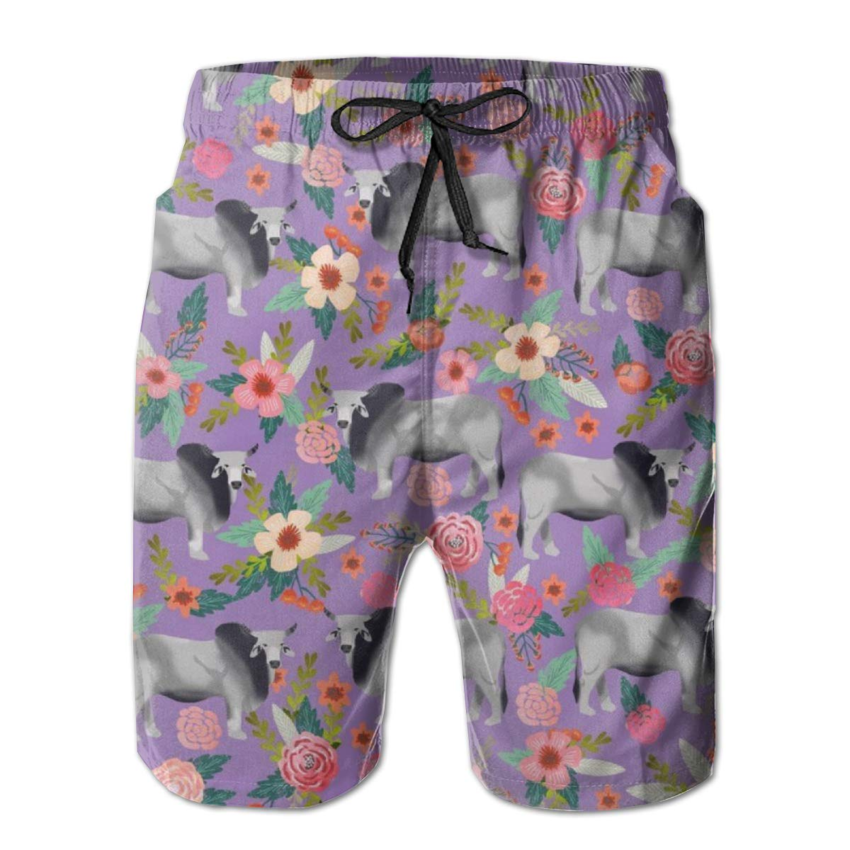 Classic Mens Swim Trunks Beach Shorts with Pockets British Shorthair Donuts