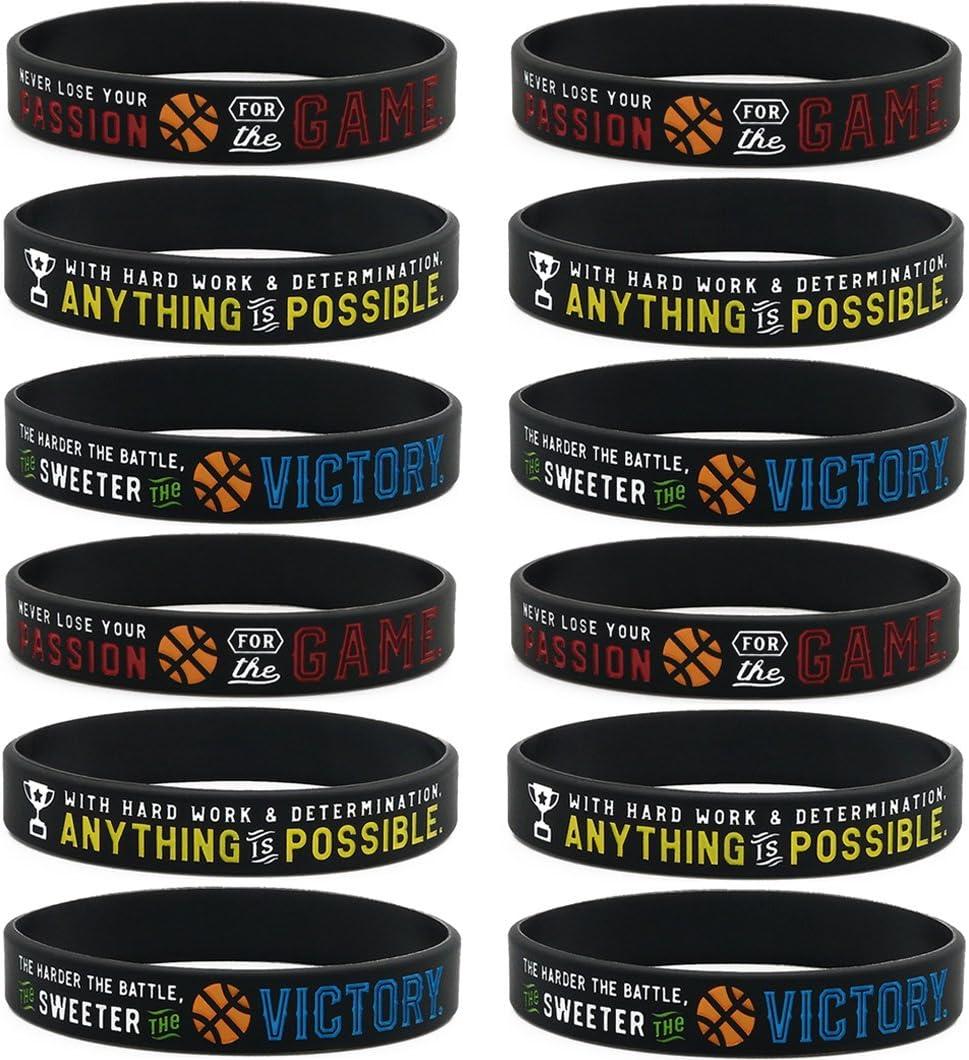 Pulseras de silicona motivadoras para baloncesto (paquete de 12 ...
