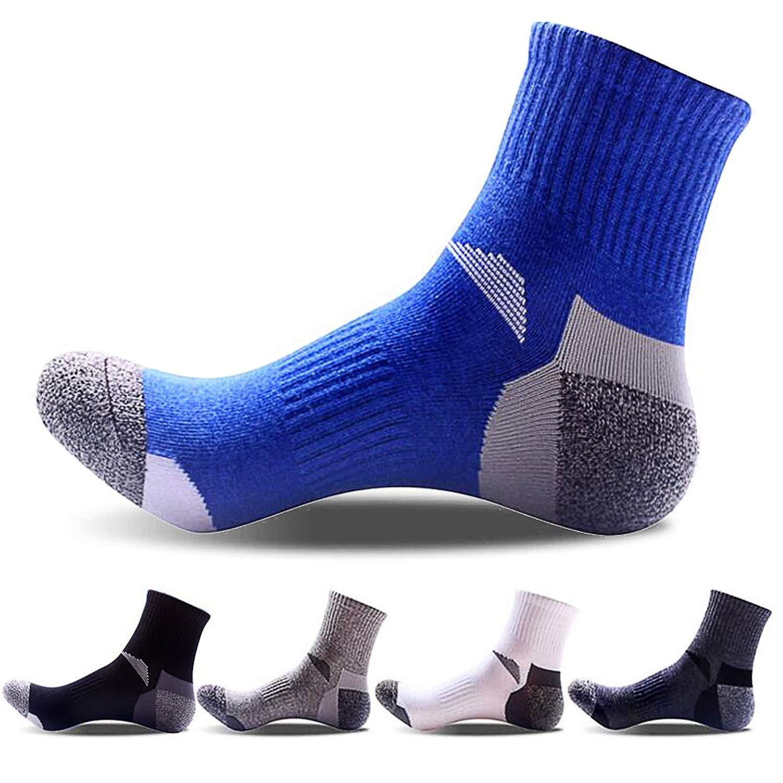 Men's 5 Pack Antiskid Wicking Outdoor Sports Multi Performance Cotton Athletic Hiking Trekking Cushion Crew Socks, Multi-1, Regular