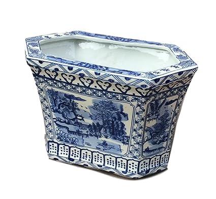 Amazon Com Blue White Canton Cachepot Planter Blue And White