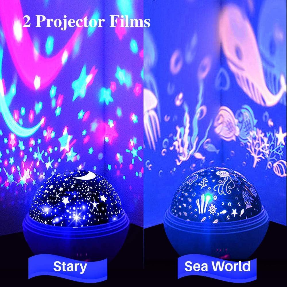 TekHome Mini LED Proyector Bebe Estrellas Portátil Azul, Juguetes ...