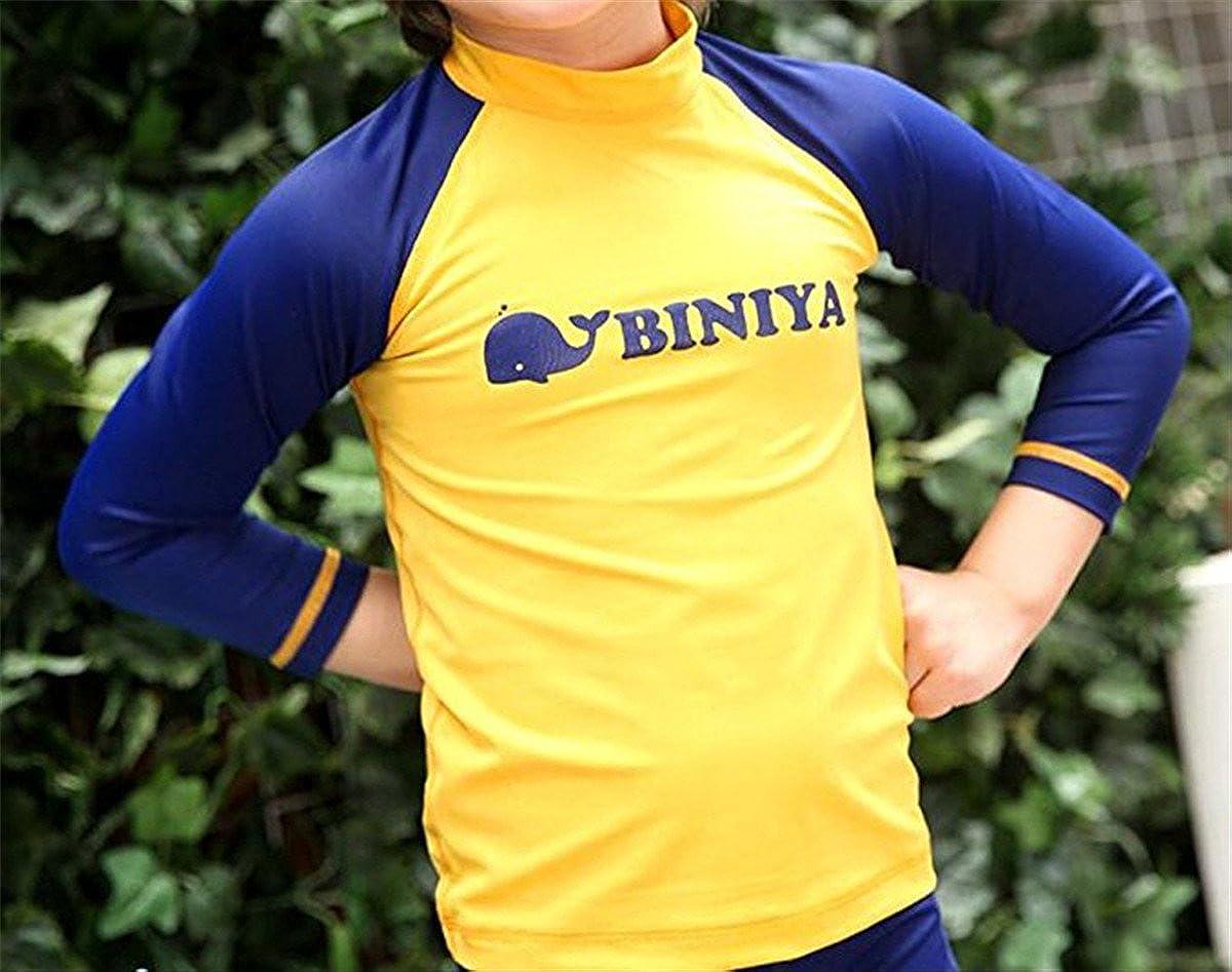 Boys Kids 3 Piece Short Sleeve Funny Cartoon Rash Guard UV Sun Protection Swimsuit DBOYS023