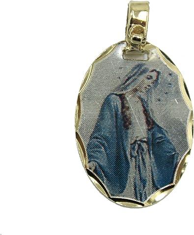 Virgen Milagrosa medalla de mini – Nuestra Lay de milagros colgante medalla de 14 K chapado en oro, con 18 pulgadas cadena: Amazon.es: Joyería