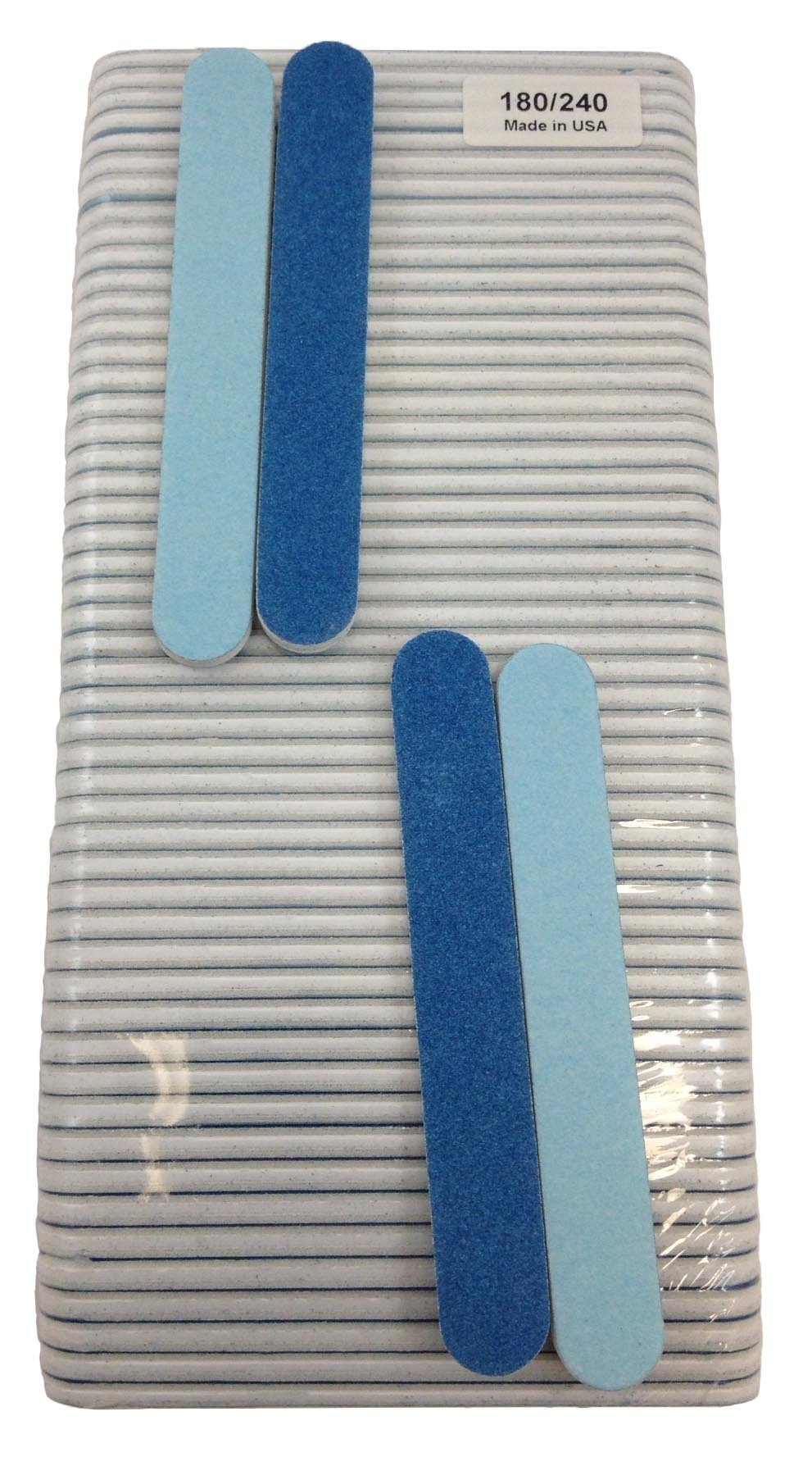 Iridesi Professional Mini Blue Finger Nail Files 120/240 Washable Emery Boards 3-1/2 Inches Long 50 Fingernail Files Per Pack