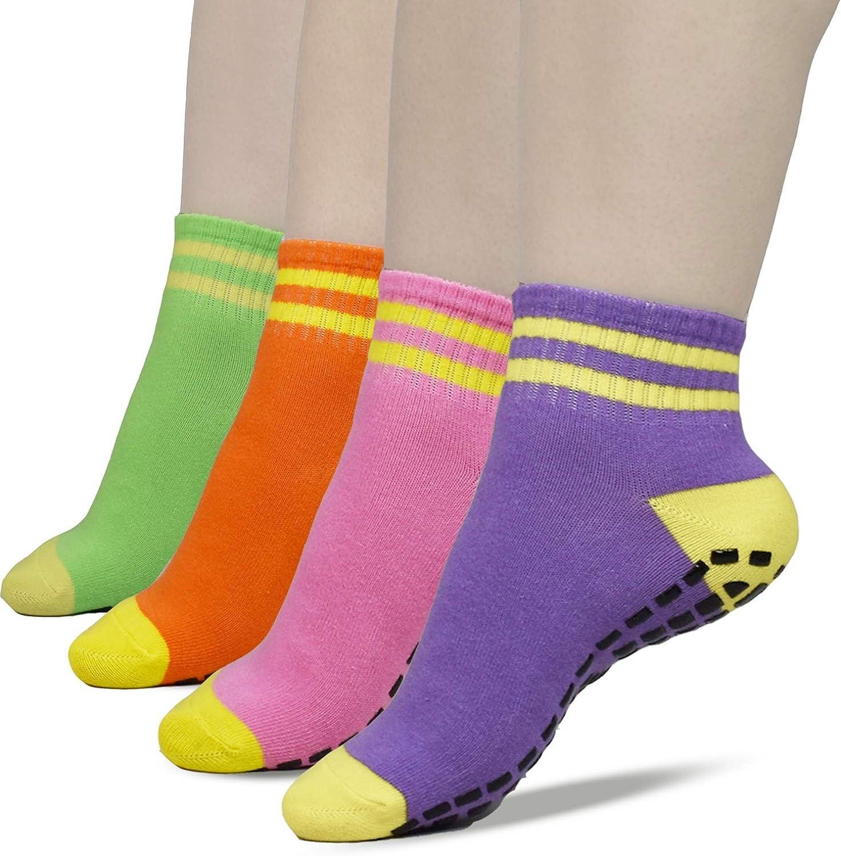 Non Slip Yoga Pilates Sticky Grips Socks 4 Pack Barre Hospital Socks for Women
