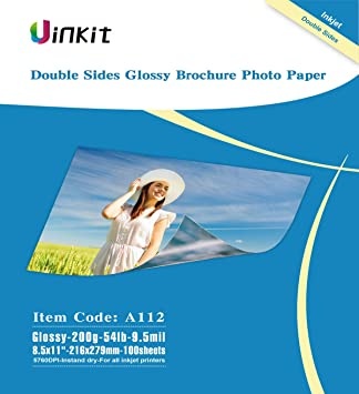 Double Sided Glossy Inkjet Photo Paper Uinkit 8.5x11 Inches 9.5Mil 200g For...