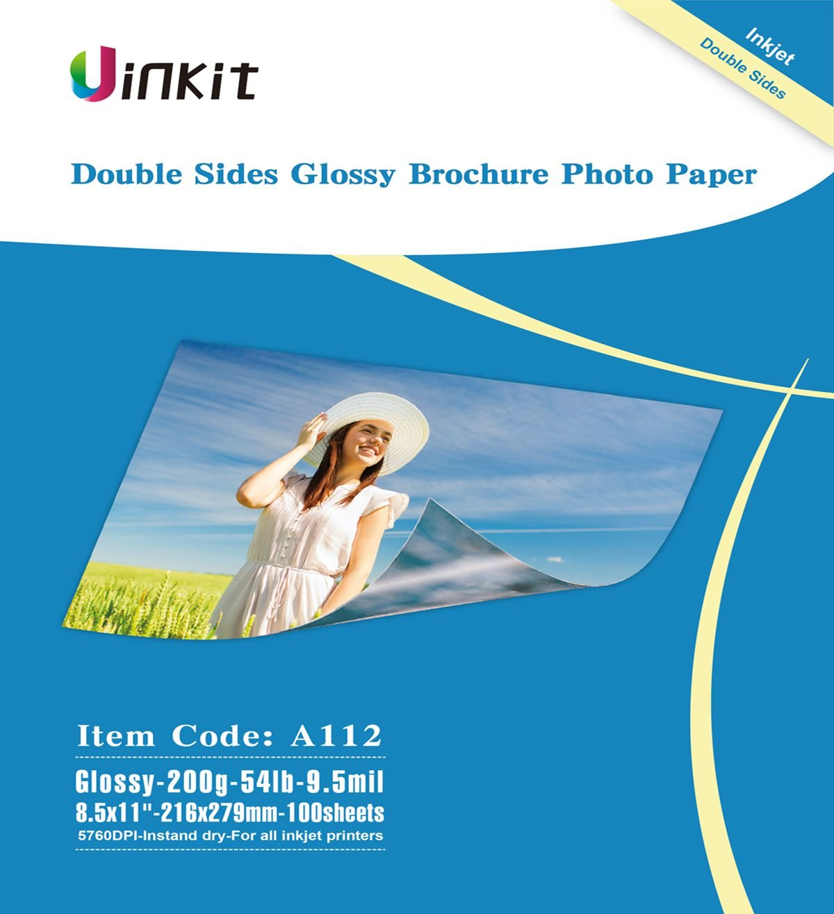 Cardstock Double Sided Glossy Photo Paper - Uinkit 8.5x11 Inches 9.5Mil 200g For Inkjet Printing Only - 100sheets