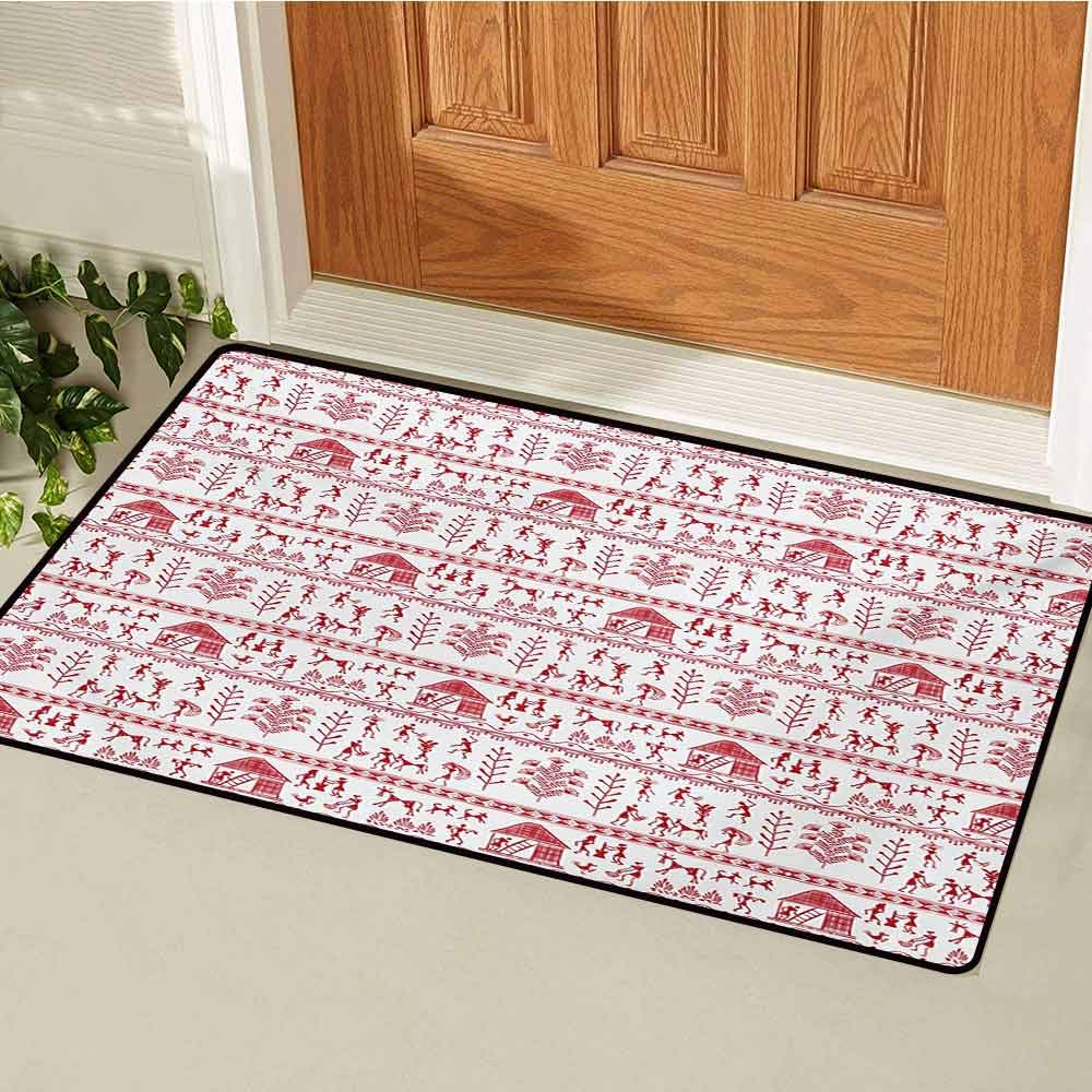 GUUVOR Red and White Front Door mat Carpet Native Primitive Art with Tribal People and Animals Cave Drawing Style Prints Machine Washable Door mat W23.6 x L35.4 Inch White Red by GUUVOR