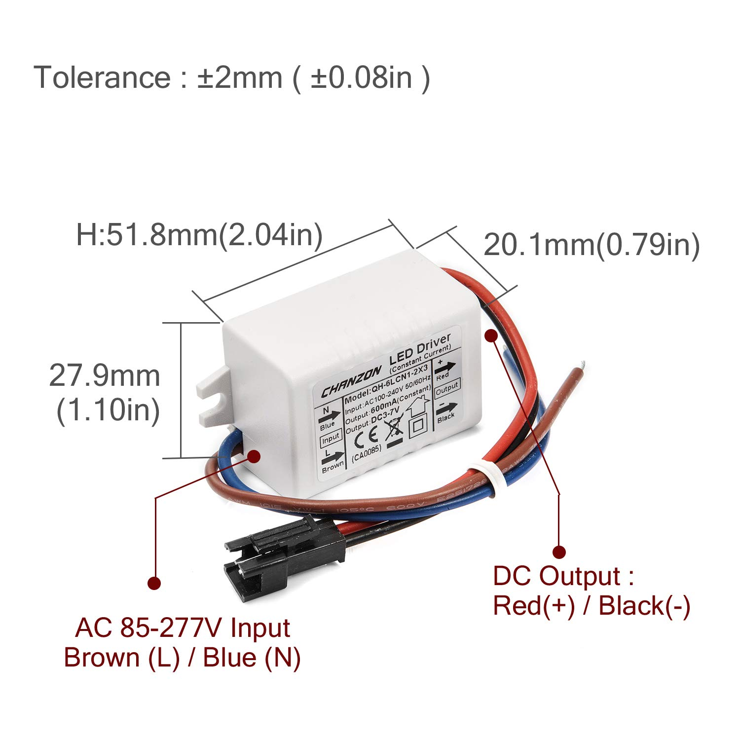 chanzon led driver 600ma (constant current output) 3v 7v (input 100 240v ac dc) (1 2) x3w 3w 6w power supply 600 ma lighting transformer drivers for  bin pin led light bulb 3w(30w halogen