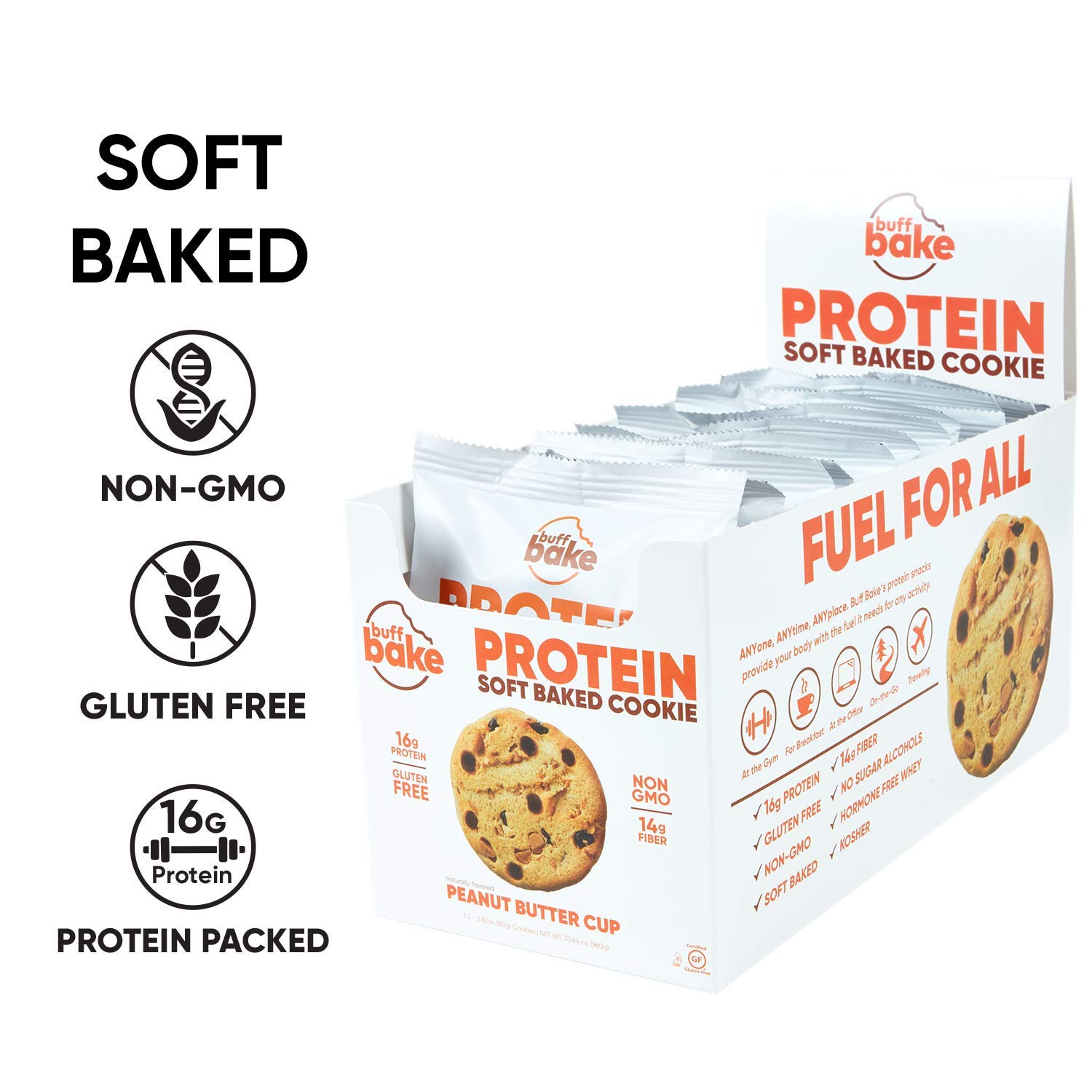 Buff Bake Protein Cookie | Peanut Butter Cup | Soft Baked | Gluten Free | Non-GMO Ingredients | 16g of Hormone-Free Whey Protein | (12Count, 2.82 oz) by Buff Bake (Image #3)