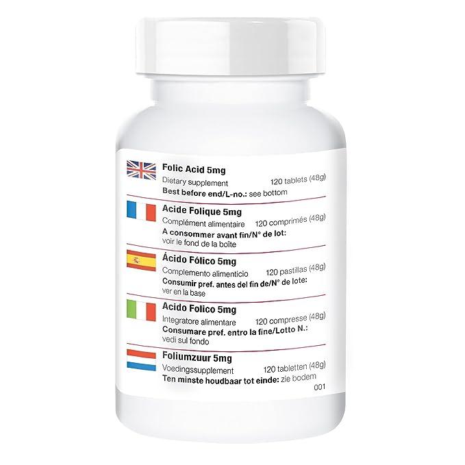 Ácido fólico 5mg - solo 1/4 tabletas al día - vegano - alta dosificación - 120 tabletas: Amazon.es: Salud y cuidado personal