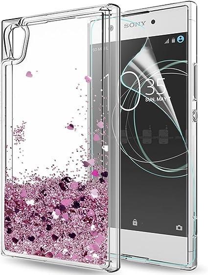 LeYi Funda Sony Xperia XA1 Silicona Purpurina Carcasa con HD ...