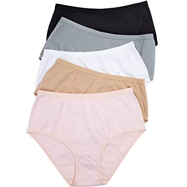 feabd58761b Comfort Choice Women s Plus Size 5-Pack Stretch Cotton Full-Cut Brief -  Basic