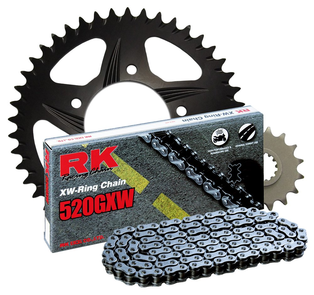 RK Racing Chain 3108-038RB Black Aluminum Rear Sprocket and 520GXW Chain 520 Race Conversion Kit