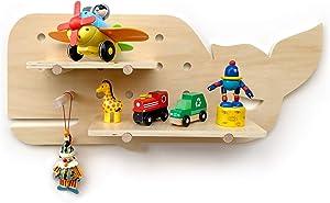 Wallnutz Wall Shelf Kids Nursery Decor Shelves. Floating Bookshelf, Toy Display Organizer - Toddler Boys Girls Room, Baby Nursery Wall Decor. Peg Board Book Shelves, Plush Toy Storage Picture Ledge
