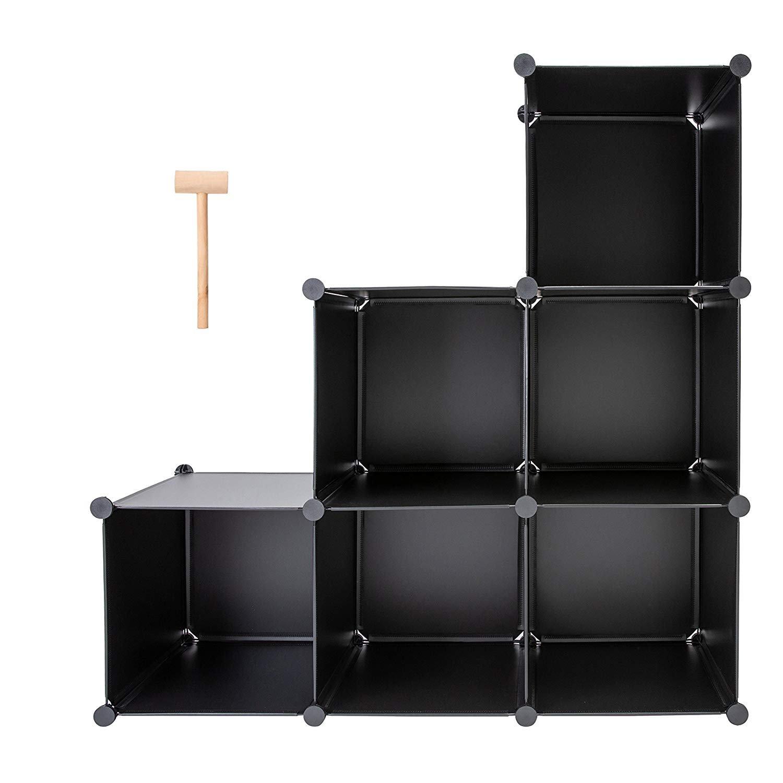 Honey Home 6 Cubes Modular Storage Organizer, DIY Plastic Closet Bookcases Book Shelf Organizing Shelving for Bedroom Living Room Office, Black (14''X14''X14'') by Honey Home