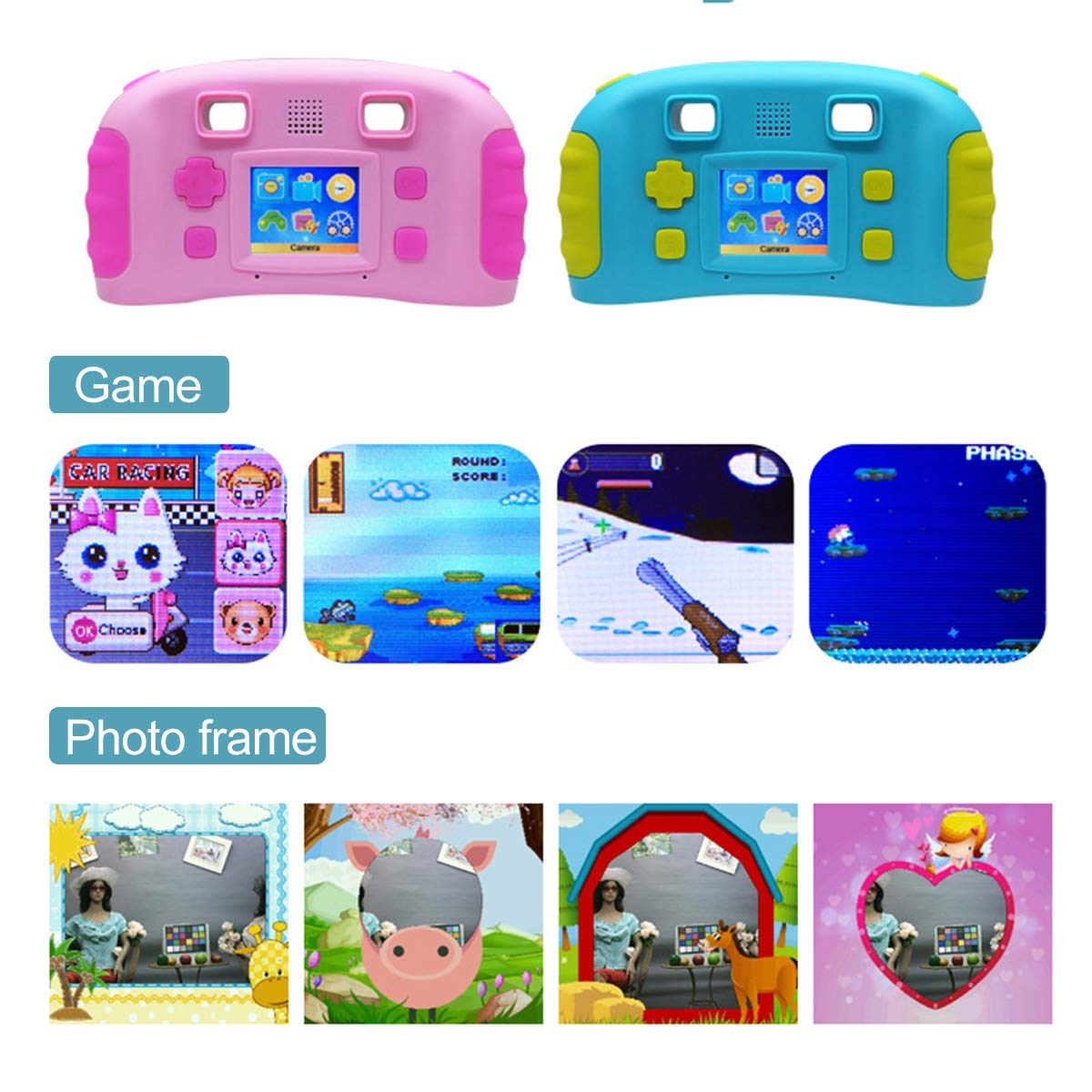 bouti1583 Digital Photo Video Cameras with Games 1.77'' LED Screen for Kids Toy by bouti1583 (Image #6)