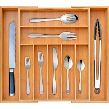 Bamboo Kitchen Drawer Organizer - Expandable Silverware Organizer/Utensil Holder and Cutlery Tray with Grooved Drawer Dividers for Flatware and Kitchen Utensils by Royal Craft Wood