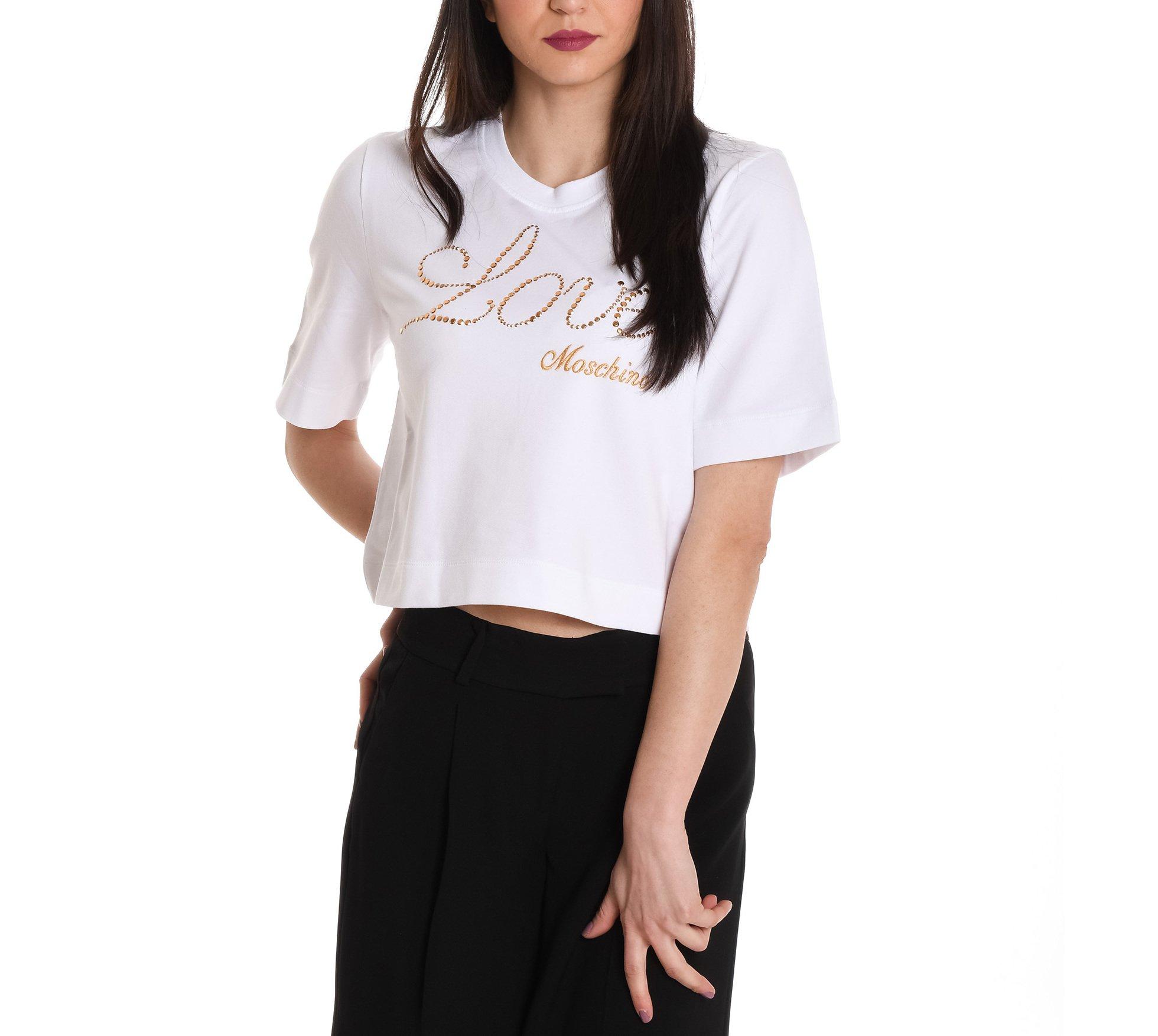 Love Moschino Women's W628604e1762a00 White Cotton T-Shirt