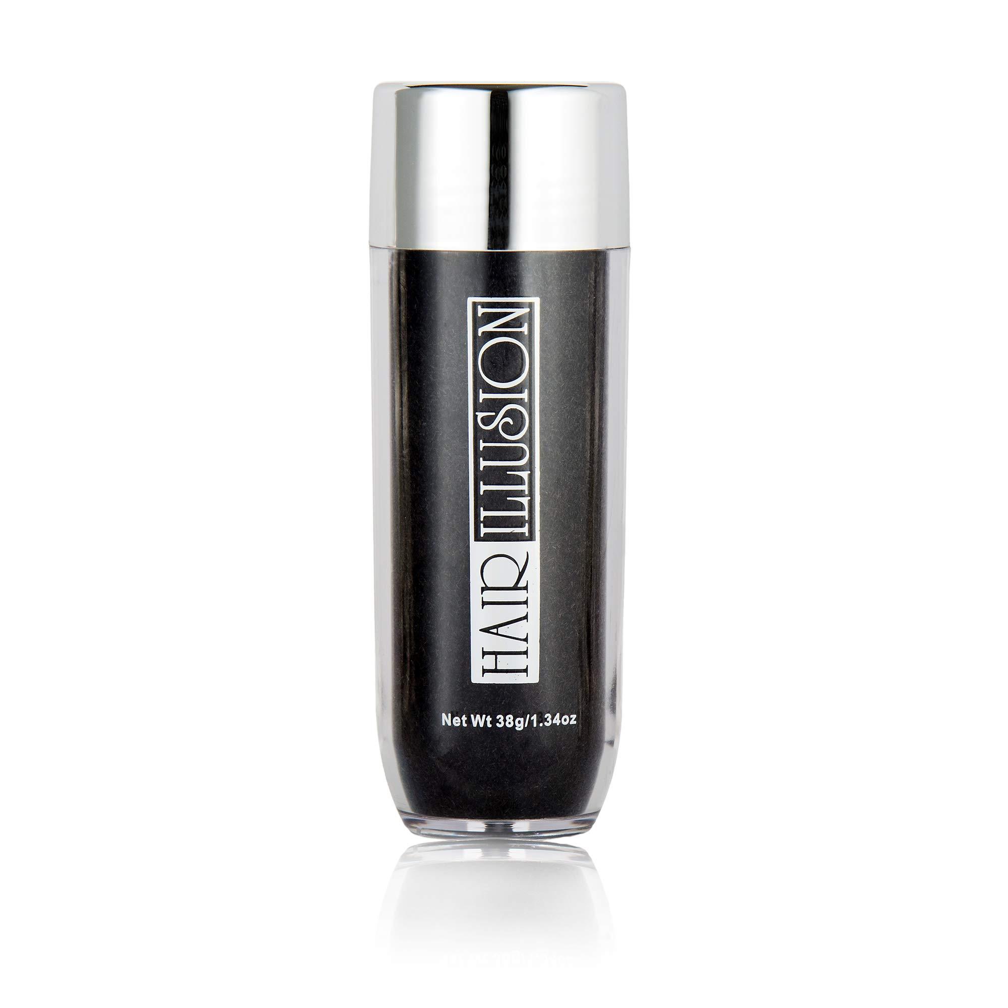 HAIR ILLUSION - 100% Natural Real Hair Fibers, Premium Quality For Men and Women (38g, black)