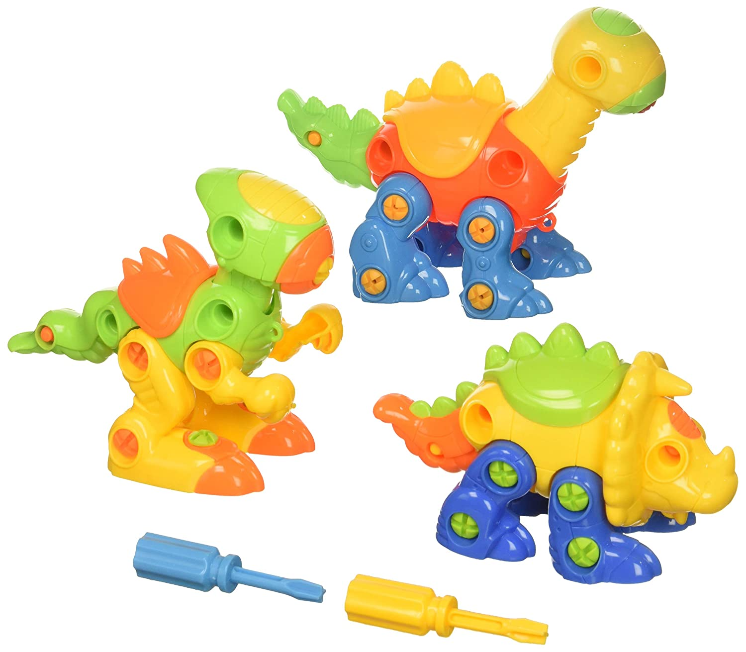 DIY Toy Including Screws and Screwdrivers,Best Toy Gift Kids Ages 3yr 106-Piece 8yr. Dimple Roaring Sound Dinosaur Toys Build Your Own and Take Apart Pack of 3