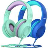 Mpow CH6S Kids Headphones with Microphone 2 Pack, 85dB Volume Limited, Wired On Ear Headsets for Kids, Food Grade Silicone, L