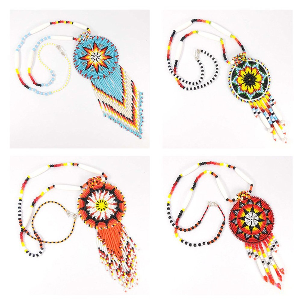 HOLIDAY SHOPPING MULTICOLOR SEED BEADED HANDMADE MEDALLION BEADWORK NECKLACE WHOLESALE LOT 4 S/51