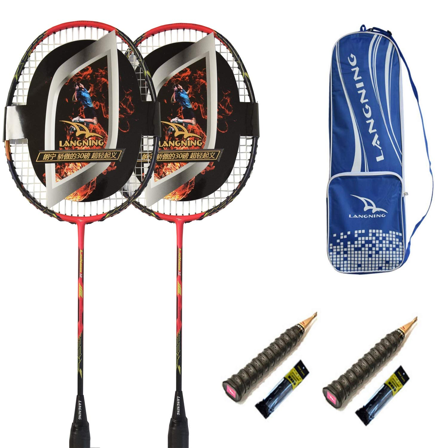 (red) - LANGNING Badminton Racquet Light 2 Rackets Set from Carbon Fibre Professional & Beginner Players Shuttle Bat Carrying Bag Included B075YXWT7C