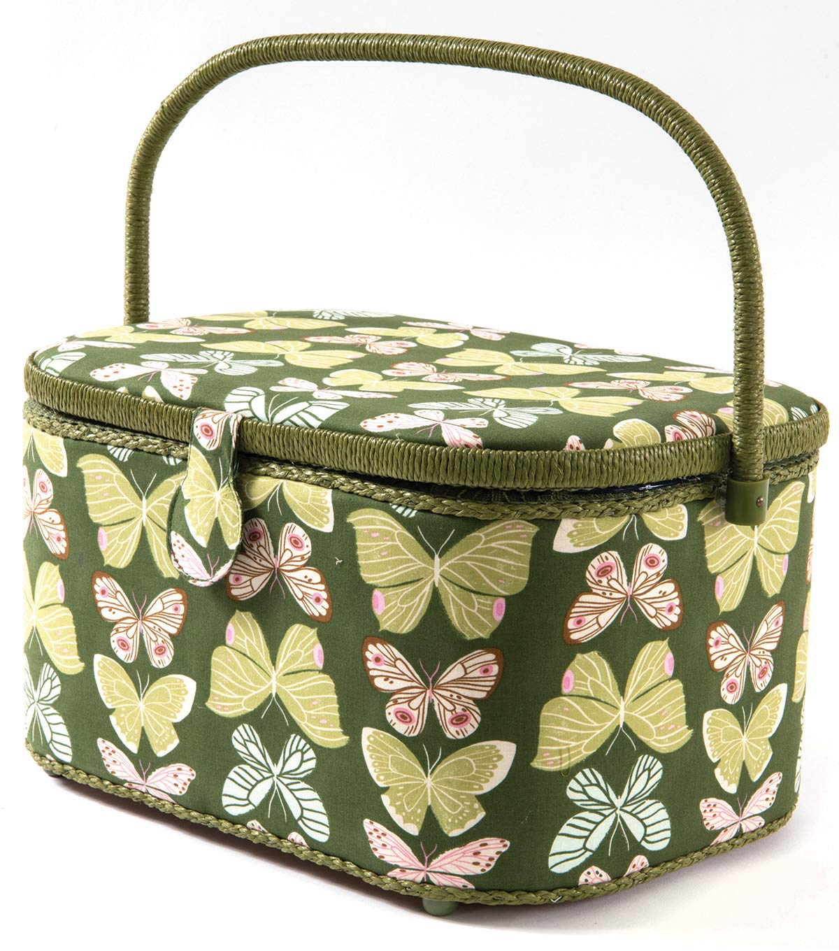 Dritz St Jane Extra Large Oval Sewing Basket Box Dritz Sewing Supplies Organization Storage (Extra Large 15''x10''x7.5, Green Butterflies) by St Jane