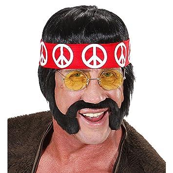 WIDMANN h6566 peluca hippie, Negro, One size