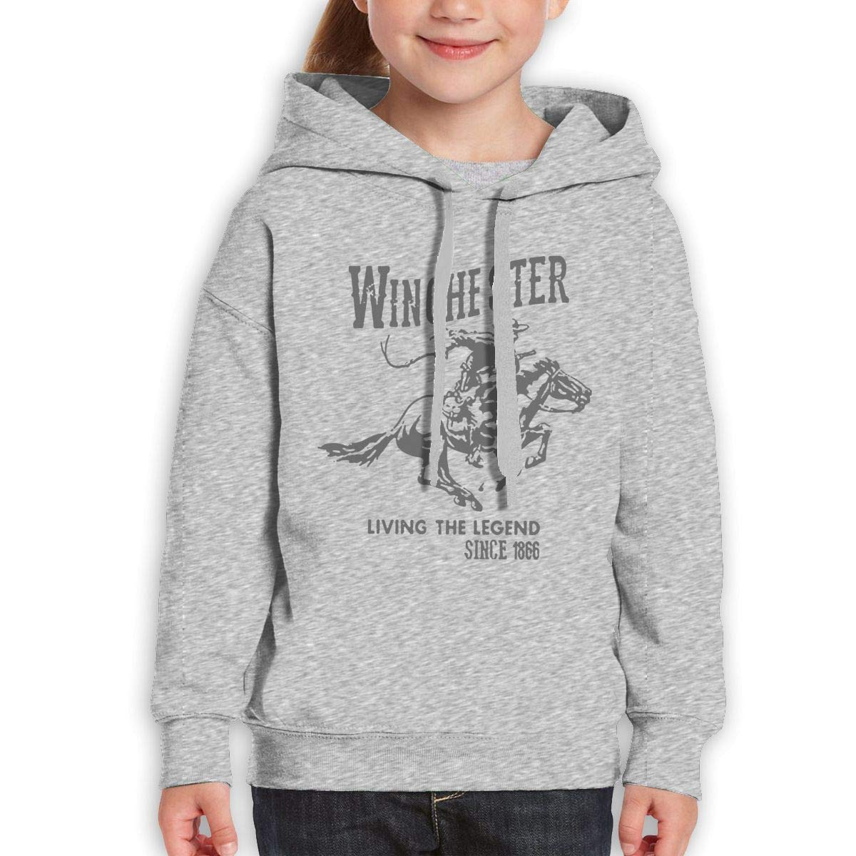 Boys Girls Winchester Living The Legend Since 1866 Teen Youth Hoodies Gray L