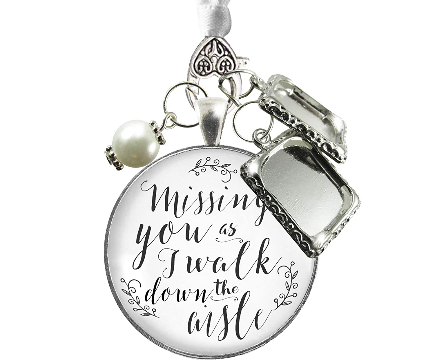 Bouquet Wedding Charm Missing You Silver Tone Bridal Memorial Photo Jewelry 2 Frames