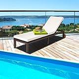 DORTALA Outdoor Pool Chaise Lounge Chair, Metal Rattan Lounger Recliner Chair W/Wheels, Folding Wicker Chaise Chair W…