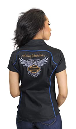 Harley Davidson Womens 115th Anniversary Zip Front Short Sleeve