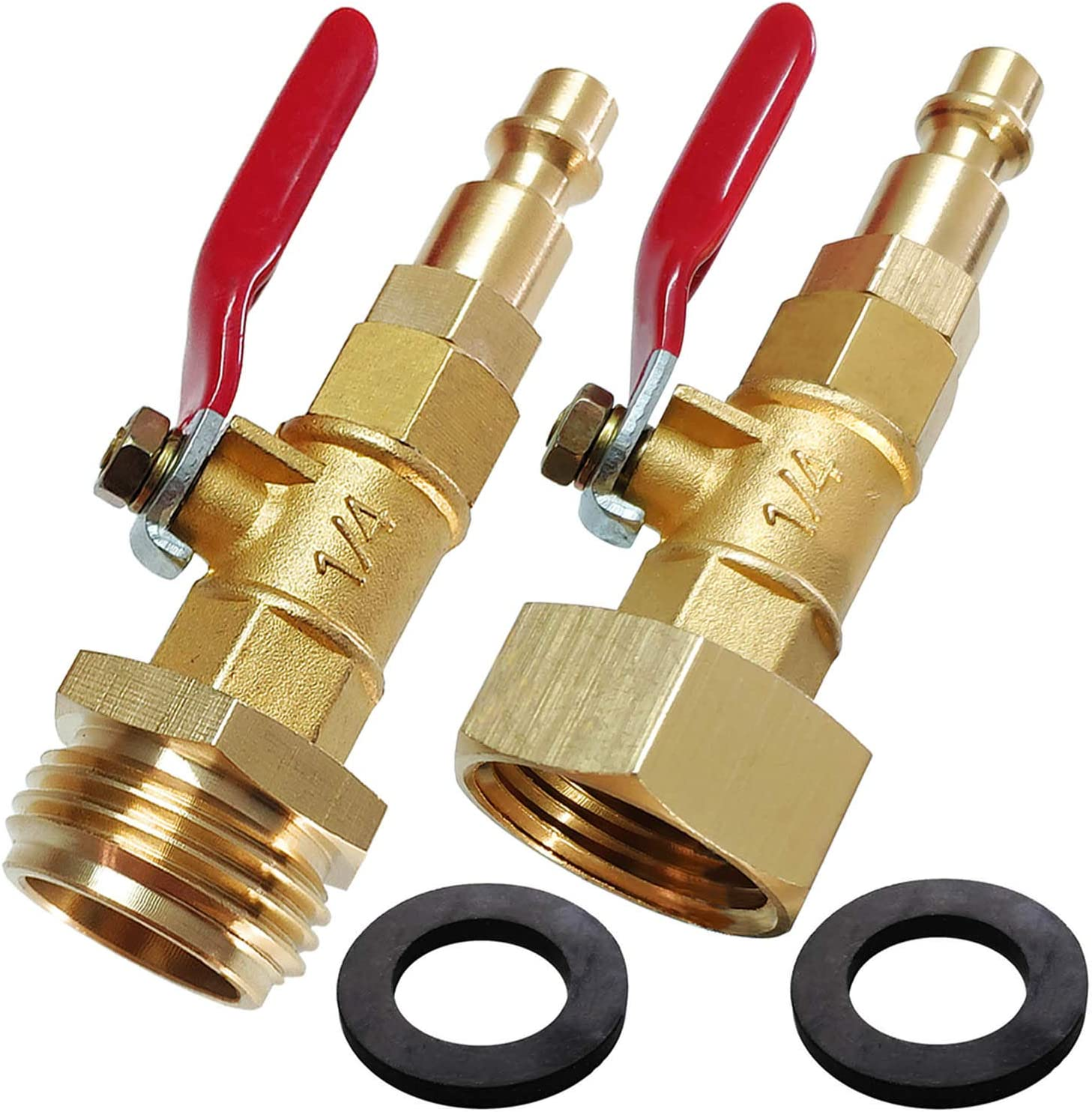 "Lomodo 2 Pieces Blow Out Adapter Winterizing Tool with 1/4"" Quick Connect Plug and 3/4"" Garden Hose Threading, Brass Quick Fitting with Ball Valve for Blowing Out Water to Winterize Water Lines"