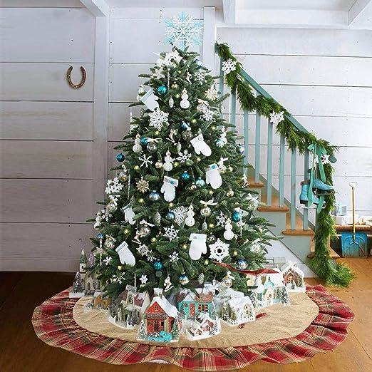 ToDIDAF Falda para árbol de Navidad, Tela de Cuadros, 122 cm ...