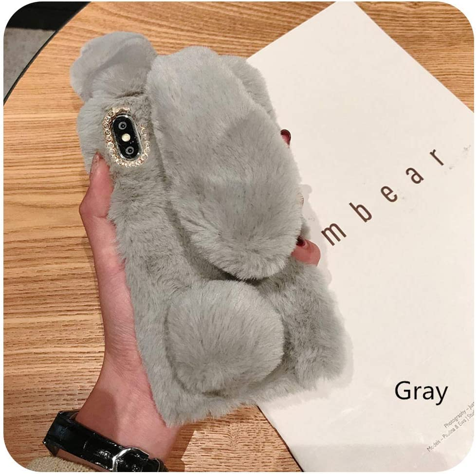 Cute Rabbit Ears Fluffy Phone Case Cover for iPhone 11 Pro X Xs Max Xr 8 7 6 5 6S 5S Plus Bunny Plush Fur Soft Silicone TPU Case,for iPhone 7 8,Brown
