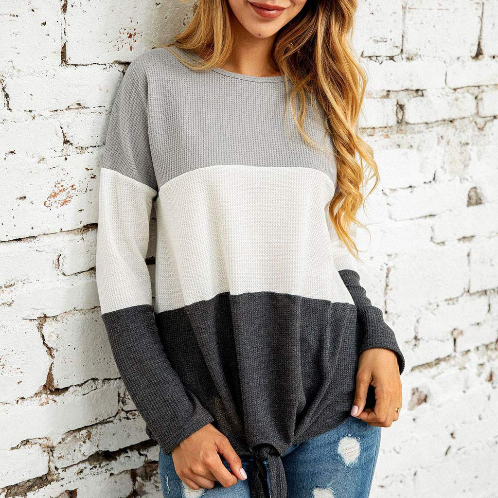 Badymin Women Patchwork Knitted O Neck Long Sleeve Sweatshirt Pullover Shirt Tops Blouse Gray by Badymin