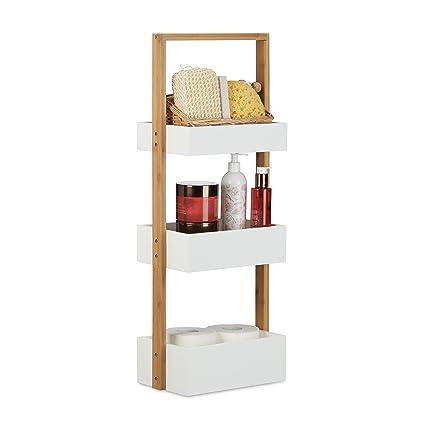 3-Tier Bathroom Shelf Bamboo Bath Storage Caddy Shower Organizer Shelves Rack