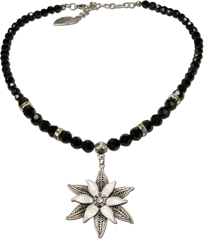Alpenflüstern Mujer perlas-collar del traje glamour-Edelweiss negro DHK14400000