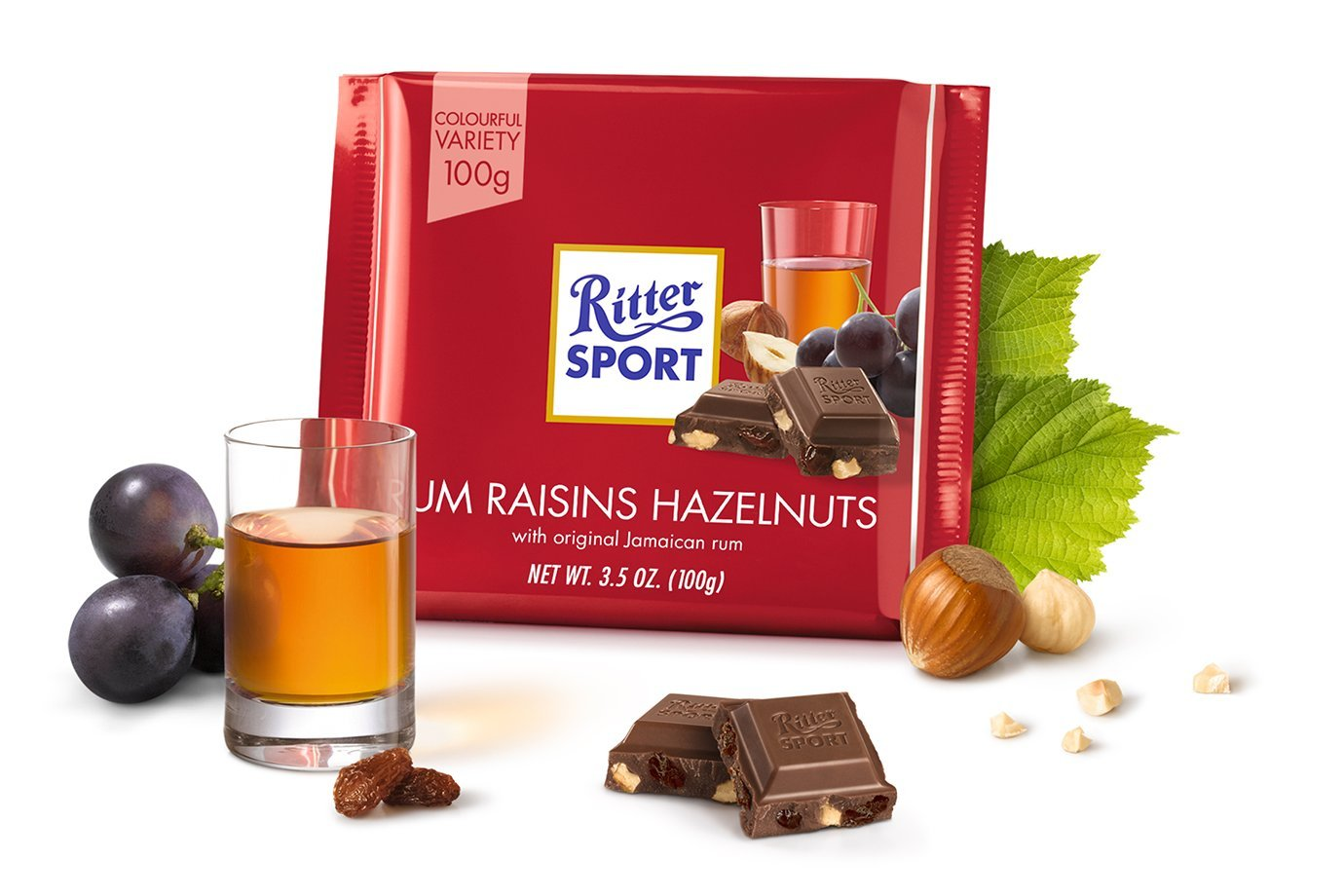 Amazon.com : Ritter Sport Rum Raisin Nuts 100g (12-pack) : Grocery ...