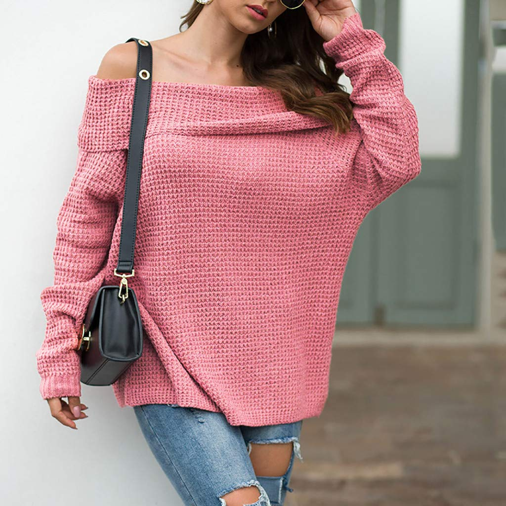 Ultramall Womens Long Sleeve Off Shoulder Sweater Pure Color Down Shirts Sexy Tops Blouse(Pink,M) by Ultramall (Image #4)