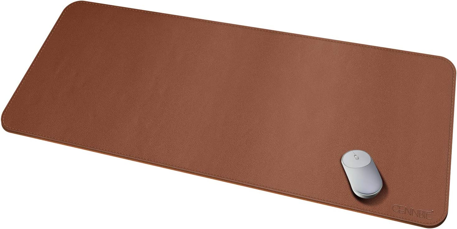 "Leather Desk Pad Protector 51.18""x23.62"" Desk Blotter Pad - Waterproof Writing Desk Accessories - Extended Non-Slip Rectangular, Laptop Keyboard Mouse Pad"