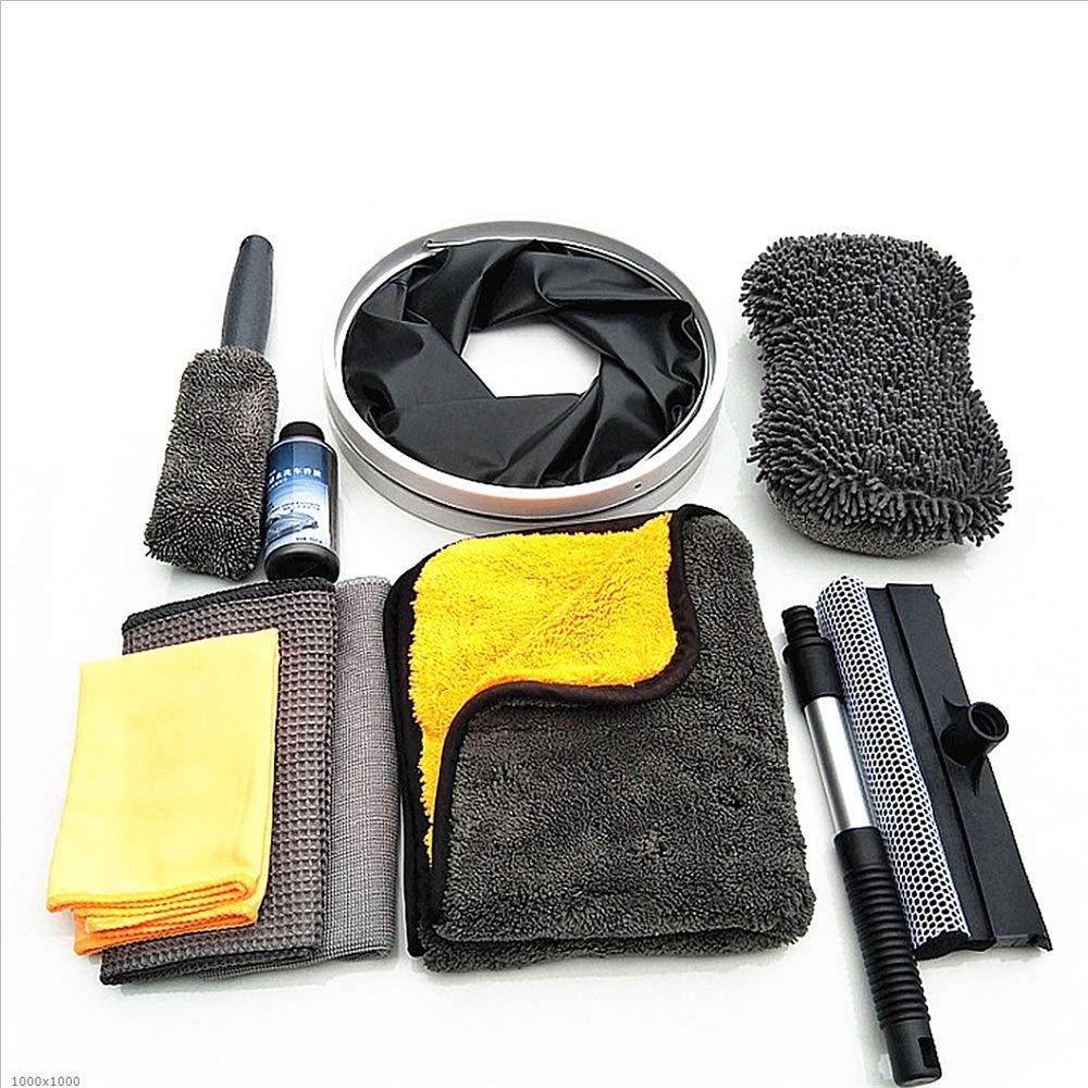 Car washing Mitt 9pcs Car Washing Cleaning Tools Kit With Bag Wash Mitt Glove Washing Sponge Microfiber Wheel Tire Brush Window Scraper Wash Towels Cloths Collapsible Bucket Detergent Bottle Vehicle G