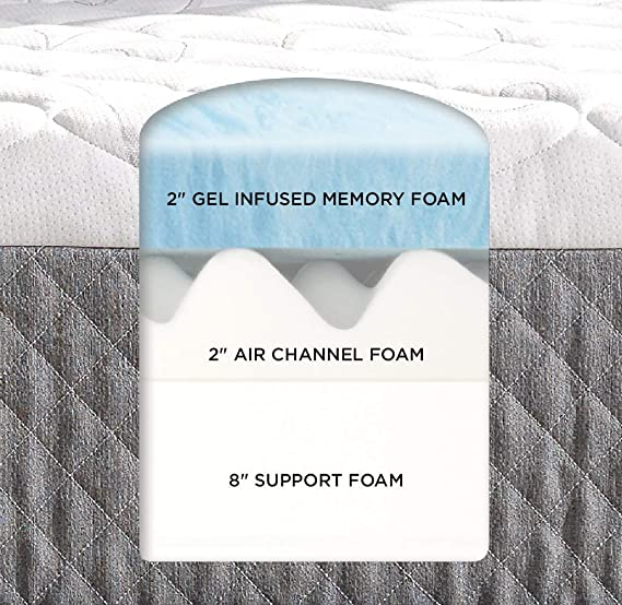 Sleep Innovations Taylor 12-Inch Cooling Gel Memory Foam Mattress, Queen