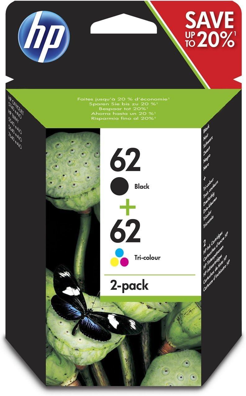 HP 62 - Cartuchos de Tinta Combinados, Negro y Tricolor, Paquete de 2: Amazon.es: Oficina y papelería