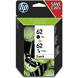HP 62 N9J71AE, Pack de 2, Cartuchos de Tinta Originales Negro y Tricolor, compatible con impresoras de inyección de tinta HP ENVY 5540, 5640, 7640; OfficeJet 200, 250, 5740: Hp: Amazon.es: Oficina y papelería
