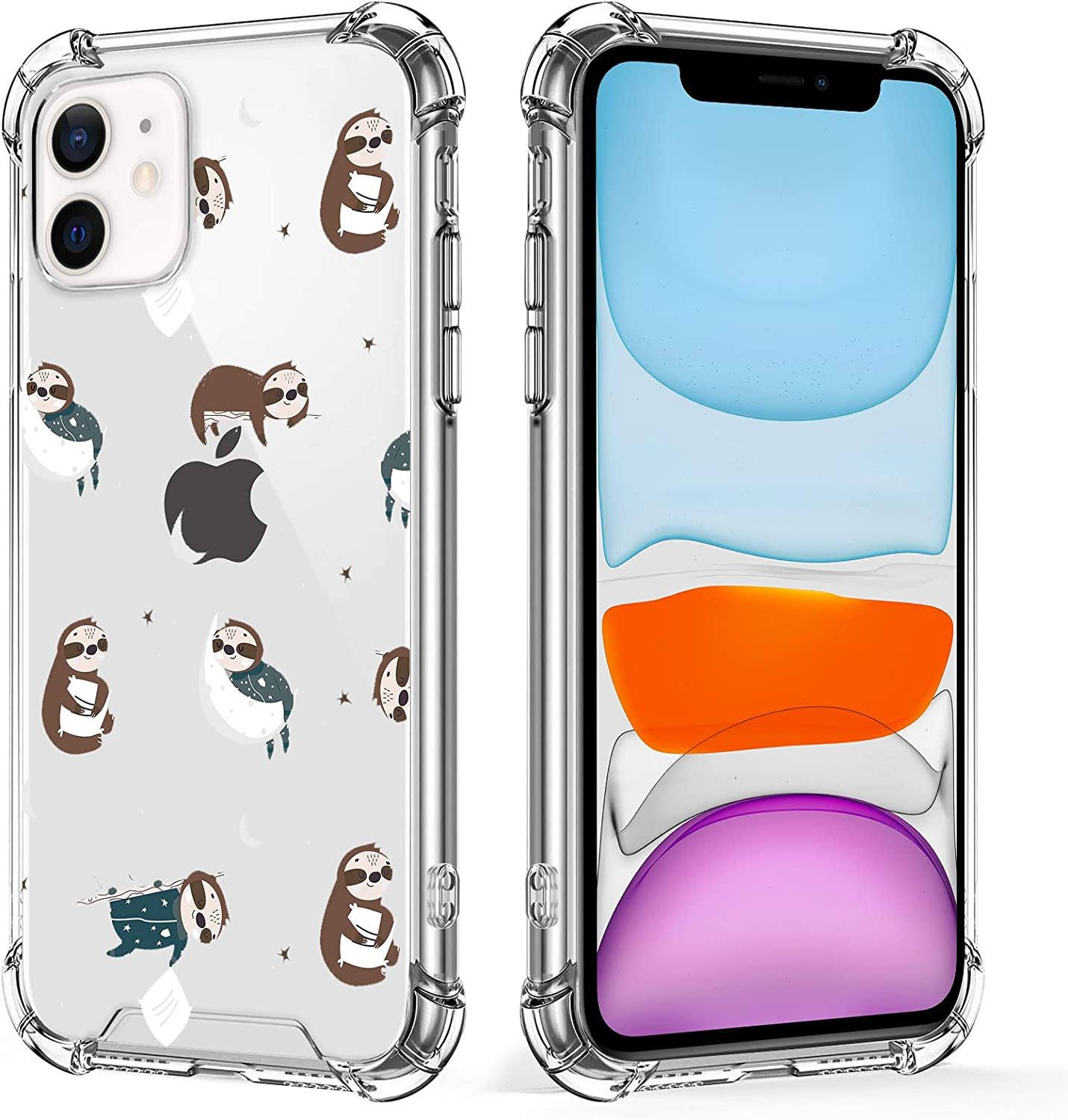 KANGHAR iPhone 7 Plus Case, iPhone 8 Plus Case Sloth Cute Pattern Shockproof Clear Four Corners Cushion Durable Hard PC + Soft TPU Bumper Anti-Scratch Full Body Protection Crystal Cover-5.5inch