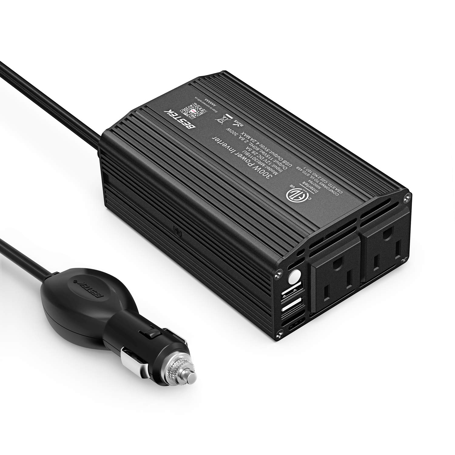 BESTEK 300W Power Inverter DC 12V to 110V AC Car Inverter with 4.2A Dual USB Car Adapter